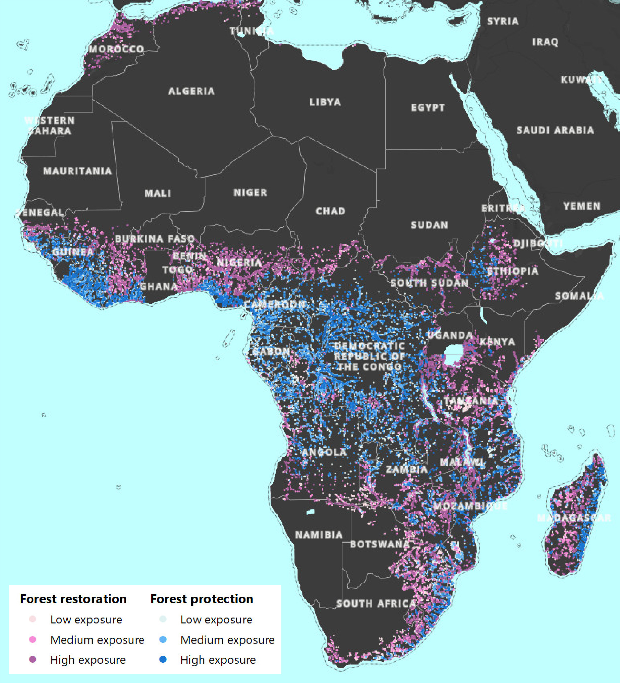 VizRisk Challenge: Opportunity areas for forest restoration or protection to floods in Africa